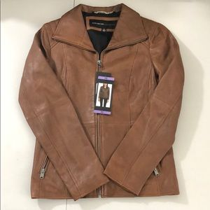 Marc New York ANDREW MARC Cognac Leather Jacket
